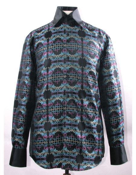 Men's High Collar ~ Shiny ~ Silky Fabric Multi Fancy Pattern Shirt