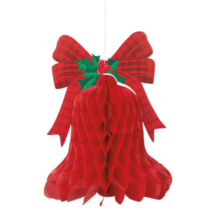 Red Bell Christmas Honeycomb Hanging Decoration, 15