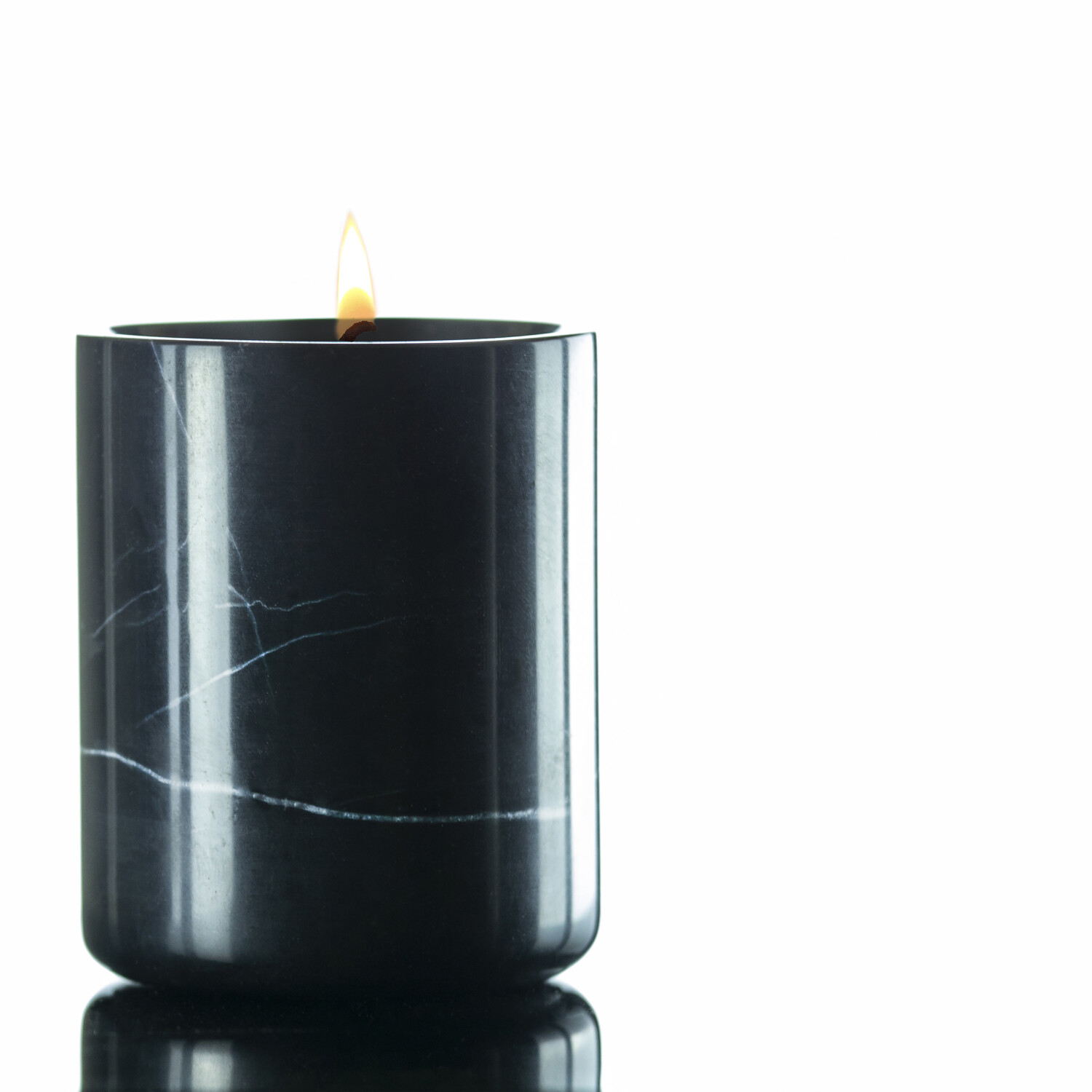 Soy Candles in 6 Scents in White or Black Marble by Willow Lane Home - Sandalwood In Black/Grey Marble