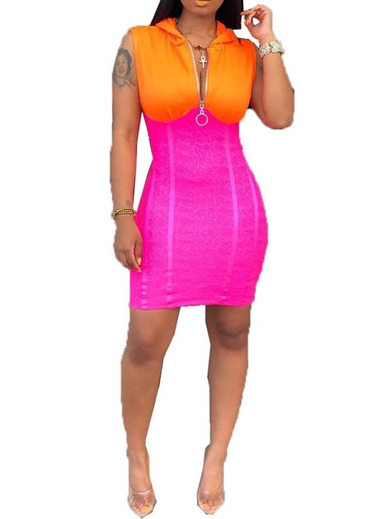 Ericdress Zipper Hooded Sleeveless Color Block Mid Waist Dress