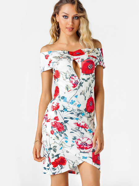 Yoins Random Floral Print Backless Design Off The Shoulder Mini Dress