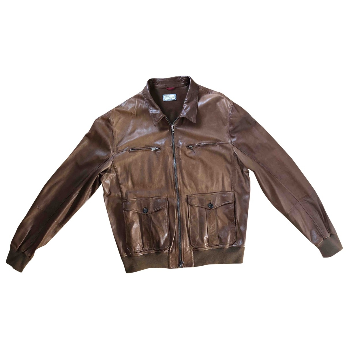 Brunello Cucinelli \N Brown Leather jacket  for Men 56 IT
