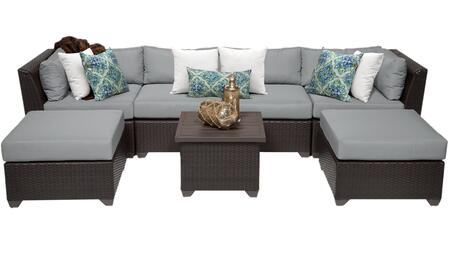 Barbados BARBADOS-07a-GREY 7-Piece Wicker Patio Set 07a with 2 Corner Chairs  2 Armless Chairs  2 Ottomans and 1 End Table - Wheat and Grey