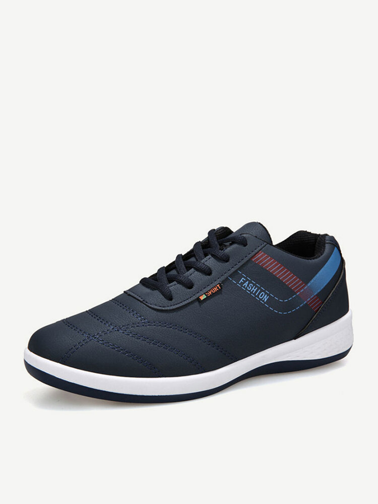 Men Synthetic Leather Stitching Non Slip Casual Running Sneakers