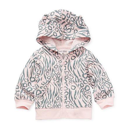 Okie Dokie Baby Girls Cuffed Sleeve Hoodie, 9 Months , Pink