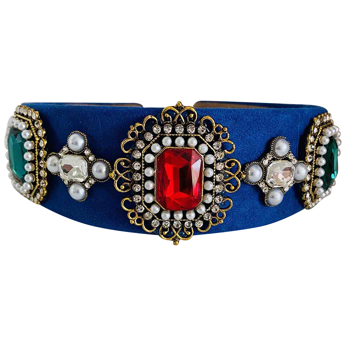 Non Signé / Unsigned Art Déco Blue Crystal Hair accessories for Women \N