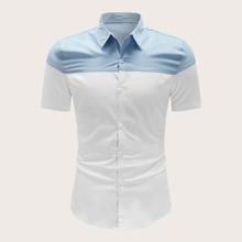 Men Colorblock Button Through Shirt