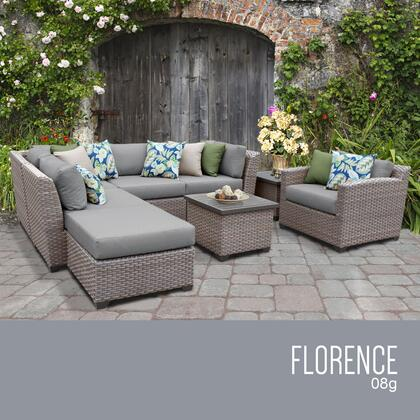 FLORENCE-08g-GREY Florence 8 Piece Outdoor Wicker Patio Furniture Set 08g with 2 Covers: Grey and