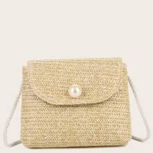 Faux Pearl Decor Braided Crossbody Bag