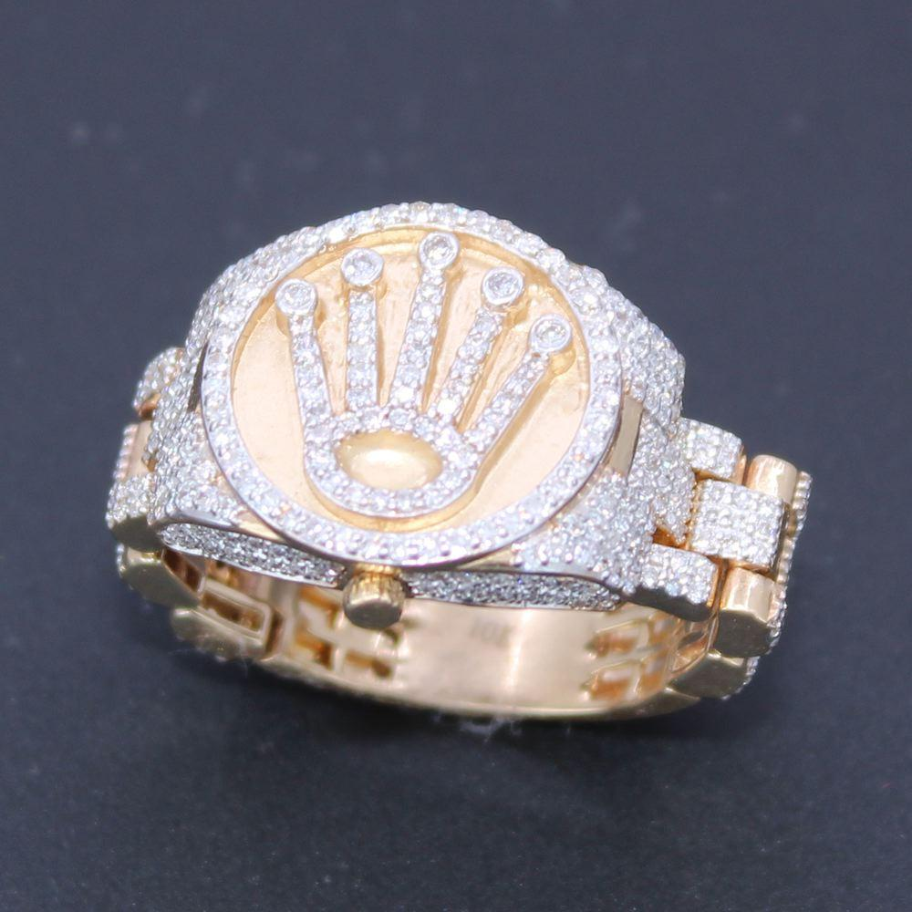Crown Ring 1.20cttw Diamond 10K Yellow Gold Ring