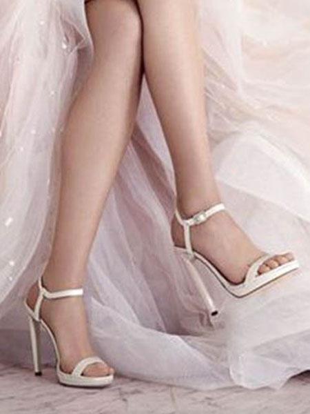Milanoo sandalias con tacones altos de mujer zapatos de baile de color blanco sandalias de punta abierta con detalle de hebilla