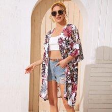 Kimono de manga murcielago con estampado tropical