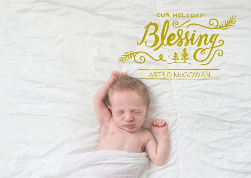 Baby Announcements 5x7 Cards, Premium Cardstock 120lb with Rounded Corners, Card & Stationery -Holiday Blessing