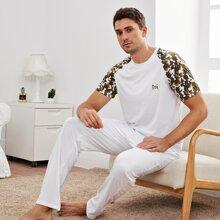 Conjunto de pijama de manga raglan de camuflaje en contraste