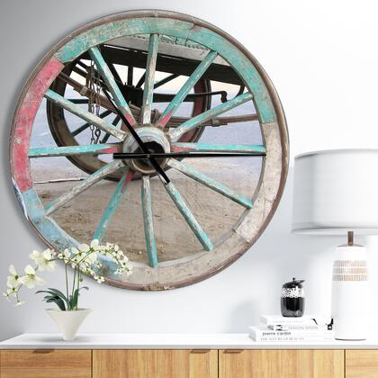 CLM050-C23 Turquoise Painted Cottage Wagon Wheel