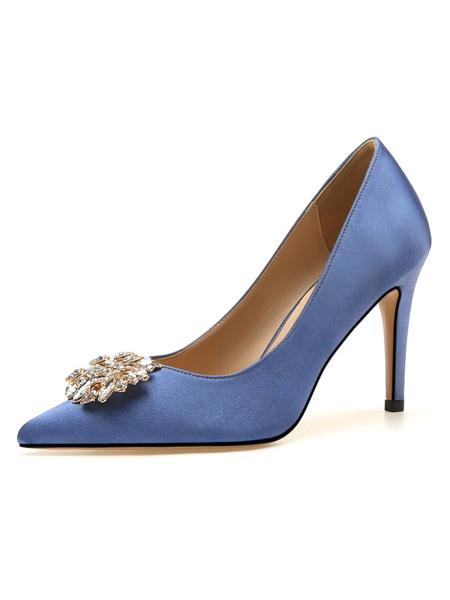 Milanoo Zapatos de fiesta para mujer Zapatos de noche de saten de tacon alto con diamantes de imitacion de punta puntiaguda desnuda