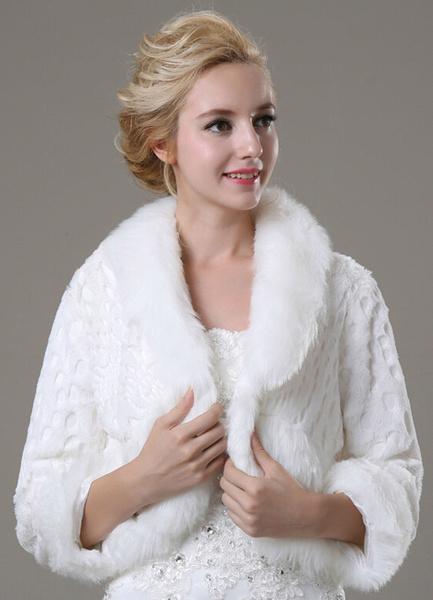 Milanoo Faux Fur Wedding Shawl