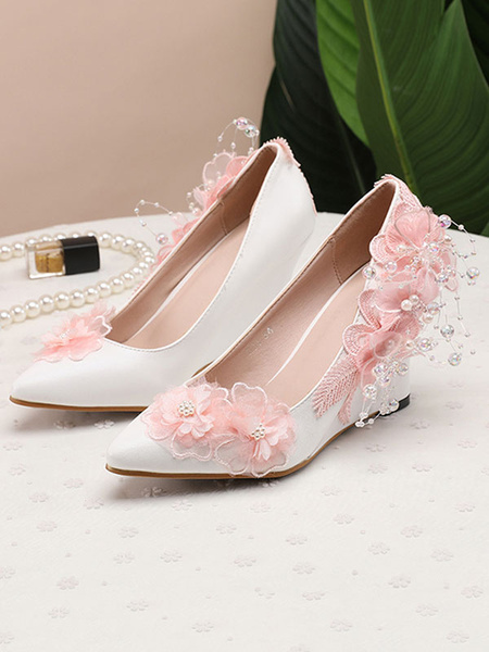 Milanoo Wedding Shoes Pointed Toe Wedge Heel Bridal Shoes With Flowers