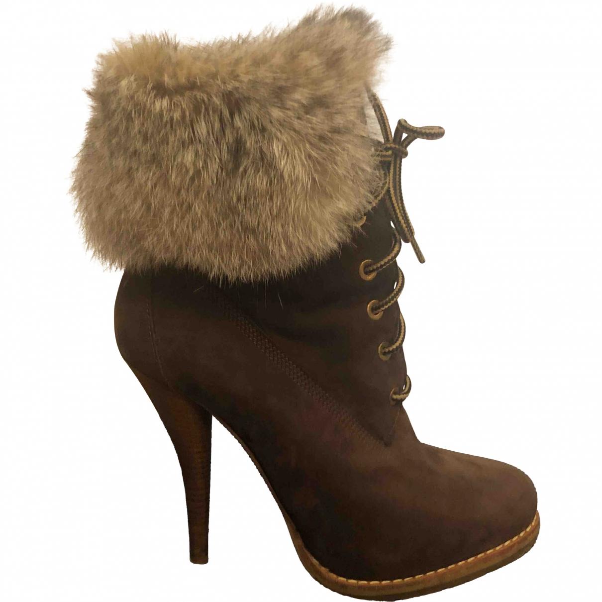 Alberto Guardiani - Boots   pour femme en suede - marron
