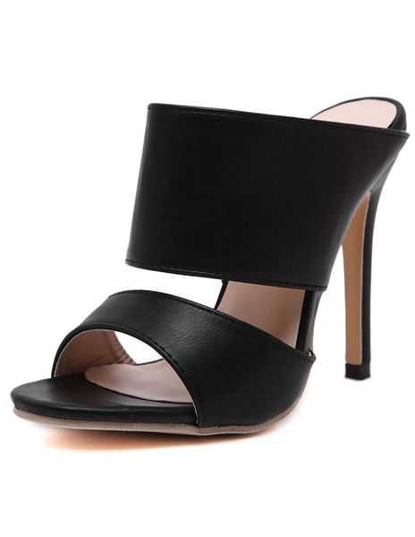 Milanoo Mules Shoes Black Stiletto Heel PU Leather Slippers on Shoes for Women