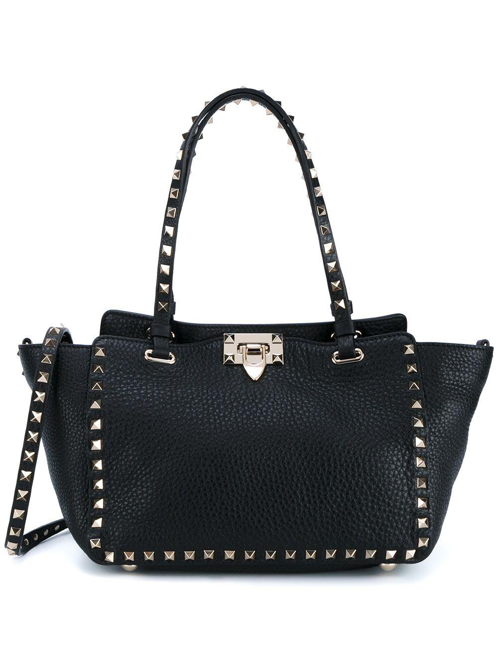 Rockstud Small Leather Tote Bag