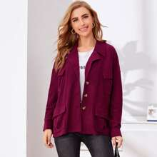 Notched Collar Buttoned Front Pocket Patched Coat