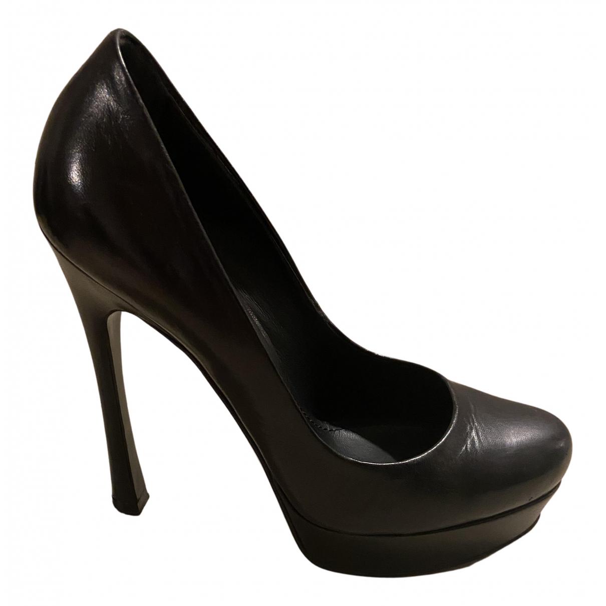 Yves Saint Laurent - Escarpins Palais pour femme en cuir - noir