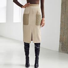 Split Hem Patch Pocket Skirt