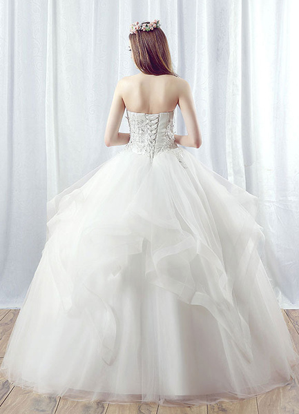 Milanoo Princess Wedding Dress Tulle Strapless Maxi Bridal Gown Lace Applique Beading Tiered White Ball Gown Bridal Dress