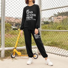 Slogan Graphic Pullover and Joggers Set