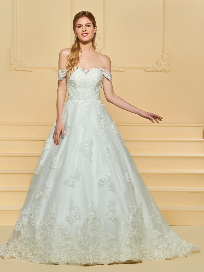 Ericdress Off the Shoulder Applique Ball Gown Wedding Dress
