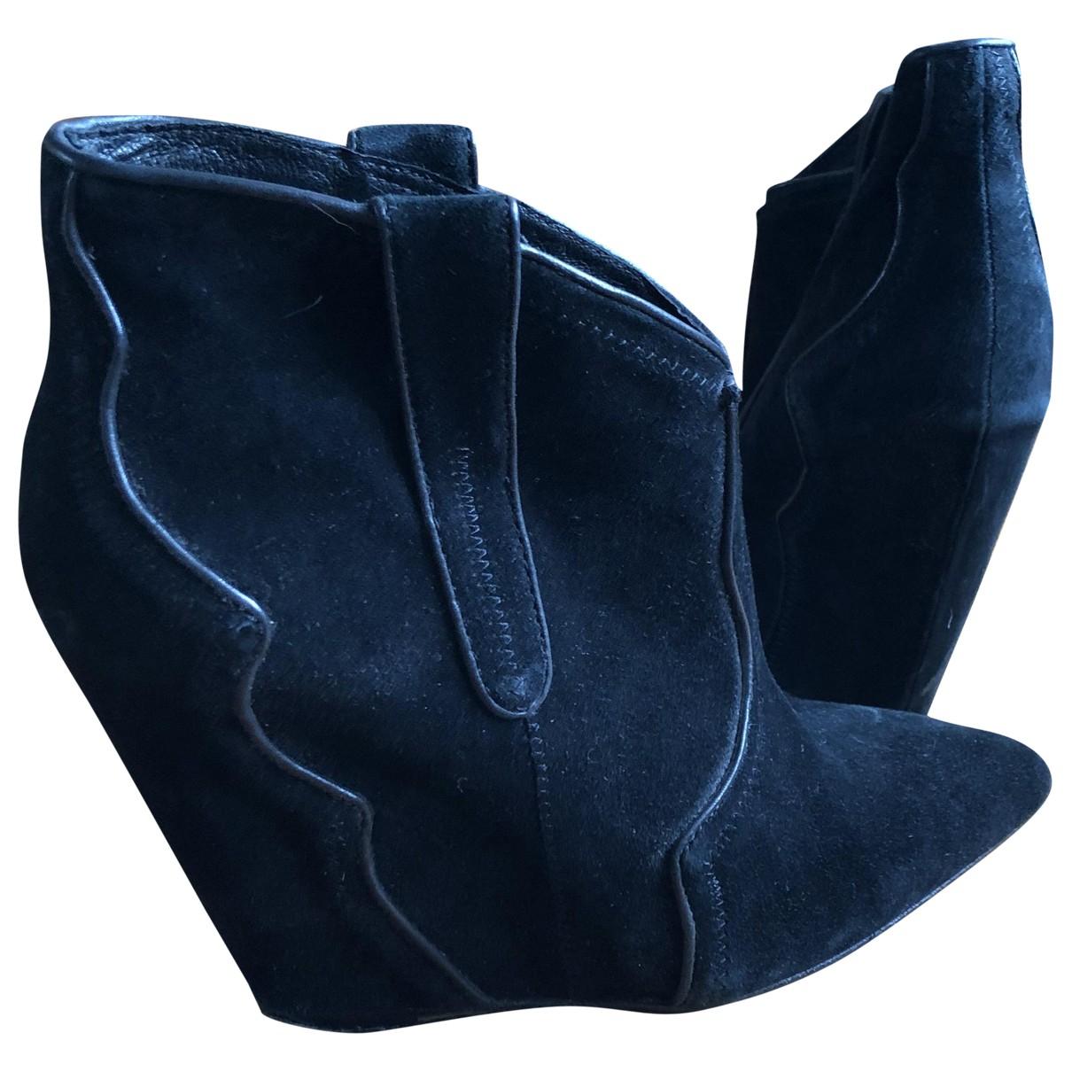 Ash - Bottes   pour femme en suede - noir