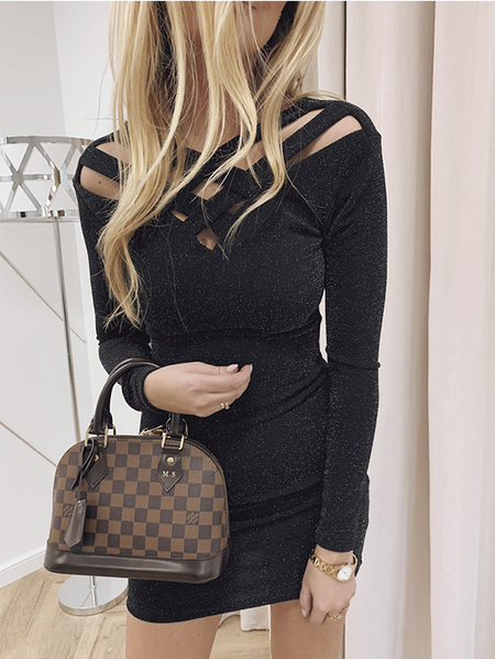 Yoins Black Glitter Criss-cross V-neck Long Sleeves Dress