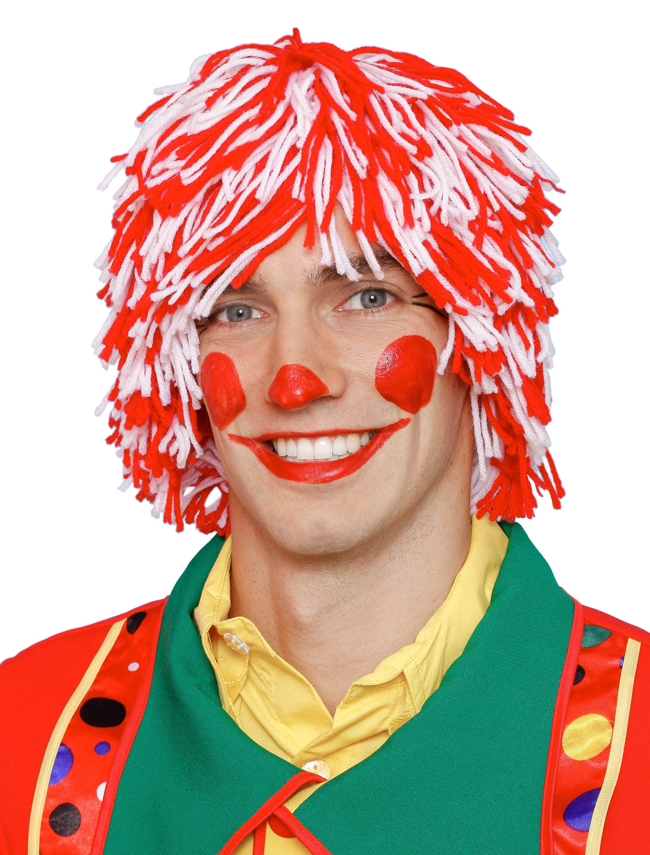 Kostuemzubehor Peruecke Clown Wolle rot/weiss