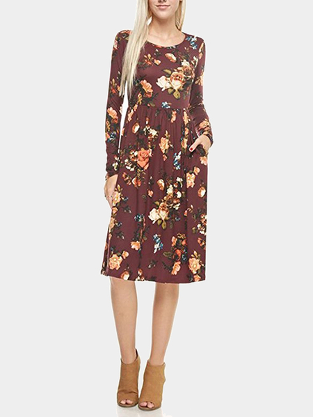 Yoins  Brown Random Floral Print Long Sleeves Midi Dress