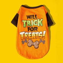 Halloween Letter Graphic Dog Tee