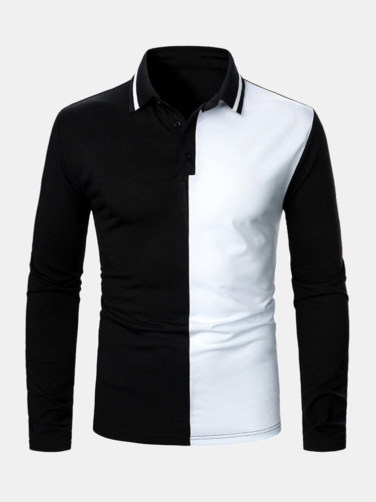 Mens Contrast Color Two Tone Patchwork Lapel Long Sleeve Golf Shirts