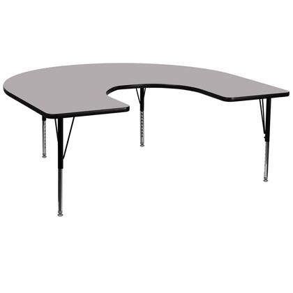 XU-A6066-HRSE-GY-T-P-GG 66 Activity Table with Horseshoe Shape  Height Adjustable Short Tubular Steel Legs  Stain Resistant Surface and Thermal