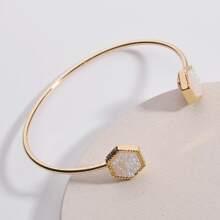 Hexagon Decor Cuff Bracelet