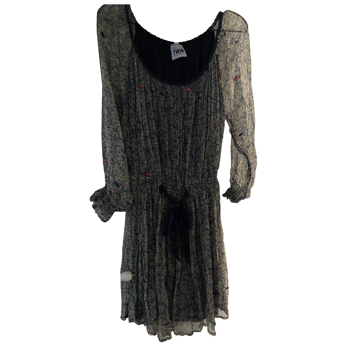 Twin Set - Robe   pour femme en soie - multicolore