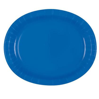 Solid Color Party Oval Paper Plate, 8Pcs - Royal Blue