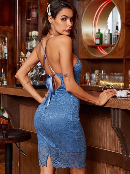 YOINS Lace Halter Backless Design Dress