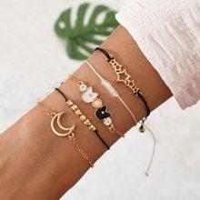 5pcs Moon Decor Bracelet