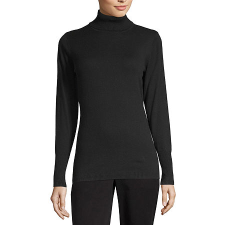 Worthington Womens Turtleneck Long Sleeve Pullover Sweater, Petite Small , Black
