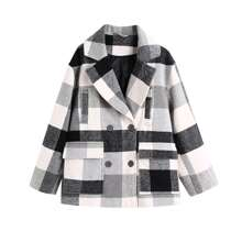 Mantel mit Reverskragen und Karo Muster