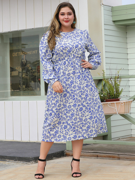 Yoins Plus Size White Random Floral Print Round Neck Dress
