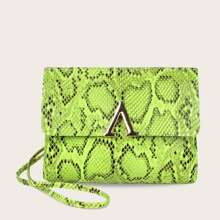 Metal Decor Neon Snakeskin Flap Crossbody Bag