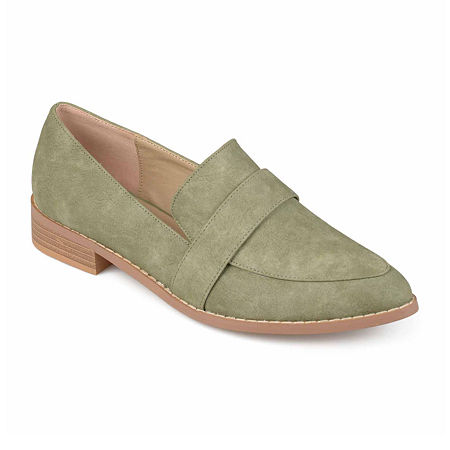 Journee Collection Womens Rossy Loafers Pointed Toe, 9 Medium, Green