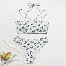 Gerippter Bikini Badeanzug mit Schmetterling Muster