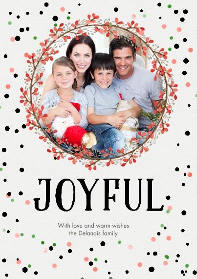 Christmas Photo Cards Set of 20, Premium 5x7 Foil Card, Card & Stationery -Joyful Wreath